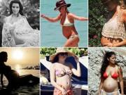 Mang thai 6-9 tháng - Ngắm dáng chuẩn của các sao bầu với bikini