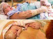 Bà bầu - Sinh mổ: Mẹ bạo gan tự kéo cặp song sinh ra khỏi bụng
