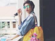 Người mẫu - Phương Mai ăn mặc bình dân vẫn đẹp giữa phố