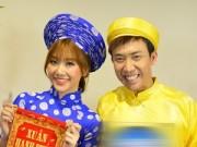 Làng sao sony - Trấn Thành diện áo dài Tết nghịch ngợm bên Hari Won