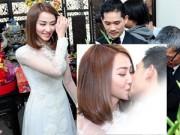 Hot: Ngân Khánh tình cảm hôn ông xã trong ngày ăn hỏi