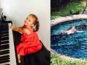 Làng sao - Con gái Hồng Nhung trổ tài chơi đàn, bơi lội