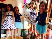 Hậu trường - Con trai Hồng Nhung mặc váy của em gái
