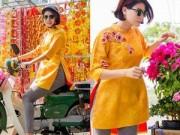Người nổi tiếng - Trang Trần diện áo dài sặc sỡ lái xe máy đi mua sắm
