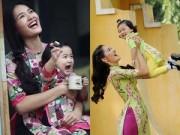 Thời trang - Mẹ con HH Hương Giang mê mặc áo dài Tết