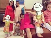Làng sao - Vợ chồng Thủy Tiên diện áo dài cho con gái đi chúc Tết