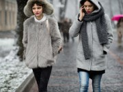Thời trang - Mưa tuyết, tín đồ thời trang Kiev vẫn ăn diện ra phố