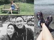 Hà Tăng đi giày thể thao bình dân du hí cùng chồng