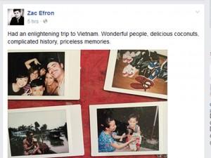 Zac Efron khen ngợi Việt Nam trên trang cá nhân