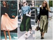 Thời trang - Nao lòng ngắm váy xếp ly của phái đẹp bốn phương