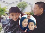 Con trai Kim Hiền cười tươi khi được bố dượng cắt tóc