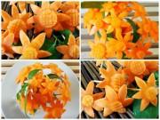 Bếp Eva - Tỉa hoa cà rốt đơn giản trang trí đĩa ăn