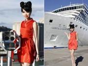 Ảnh đẹp Eva - Jessica Minh Anh khoe dáng trên con tàu khổng lồ