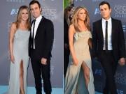 Làng sao - Jennifer Aniston táo bạo khoe chân khi sánh đôi bên chồng