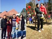 HH Hương Giang đưa con gái về Trung Quốc thăm ông bà nội