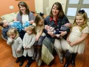 Bà bầu - Cực hiếm: Chị em song sinh 2 lần cùng mang thai đôi