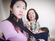 Làng sao - Ngọc Quyên vừa địu con, vừa làm việc nhà