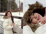 Lương Bích Hữu xinh đẹp vui đùa trong tuyết trắng