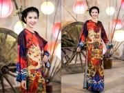 Thời trang - Thúy Vân mặc áo dài đính 1000 viên pha lê và tiền cổ