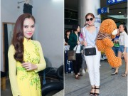 Giang Hồng Ngọc được fan tặng gấu bông ở sân bay