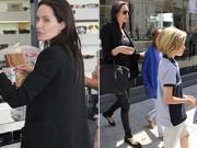 Làng sao - Angelina Jolie gầy tong teo đưa con đi mua sắm