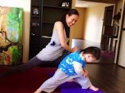 Làng sao - Dương Mỹ Linh tập yoga cùng con trai Bằng Kiều