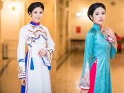 Thời trang - Hoa hậu Ngọc Hân diện áo dài cung đình làm MC