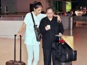 Làng sao - Mẹ Trương Thị May tháp tùng con gái ra sân bay lúc nửa đêm