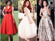 Thời trang - Người đẹp Việt bỗng lùn tịt vì mốt váy phồng