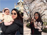 Làng sao - Hà Kiều Anh đưa con gái 5 tháng tuổi đi ngắm hoa anh đào