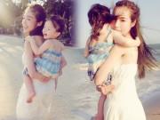 Làng sao - Elly Trần 'gây sốt' với bộ ảnh cõng con lãng mạn ngoài biển