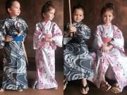 Làng sao - 2 bé Tôm - Tép nhà Hồng Nhung dễ thương khi mặc Kimono