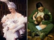 Bà bầu - Tuyệt đẹp hình ảnh nữ quân nhân, diễn viên kéo áo cho con bú