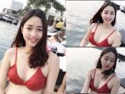 Làng sao - Á hậu Ngô Trà My mặc bikini lộ bụng bầu