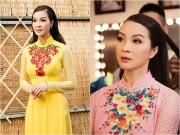 MC Thanh Mai diện 2 áo dài đi làm giám khảo
