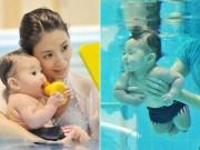 Làng sao - Mới 9 tháng tuổi, con gái Giả Tịnh Văn đã học bơi