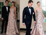 Thời trang - Miranda Kerr váy hồng thướt tha cùng bạn trai dự tiệc