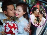 Làng sao - Quang Tuấn hôn má Linh Phi trong lễ rước dâu