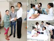 Làng sao - Thu Phương và Hoa hậu Pháp tặng tiền cho bệnh nhân mổ tim