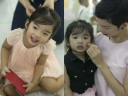Xuân Lan tô son làm điệu cho con gái tại trường mầm non