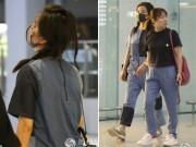 Làng sao - Bắt gặp Triệu Vy đầu bù tóc rối tại sân bay