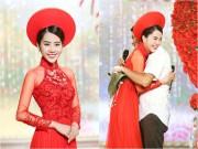 Làng sao - Nam Em mặc áo dài đỏ, làm cô dâu xinh đẹp trên sân khấu