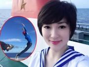 Làng sao - Hoa hậu Nguyễn Thị Huyền nhí nhảnh ở Trường Sa