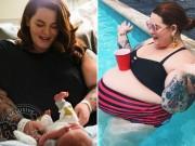 """9 tháng mang bầu """"đẹp đến phát ghen"""" của mẫu béo 113kg"""
