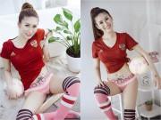 """Làng sao - """"Chân dài"""" Quỳnh Thi nóng bỏng ủng hộ đội tuyển Nga"""