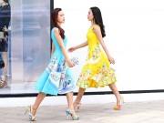 Thời trang - Ái Phương, Hoàng Oanh dạo phố với thời trang vẽ tay