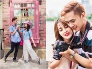 """""""Cặp đôi ngôn tình"""" Tú Vi – Văn Anh thắm thiết ở Singapore"""
