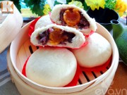 Bếp Eva - Bánh bao nhân đậu đỏ trứng muối siêu hấp dẫn