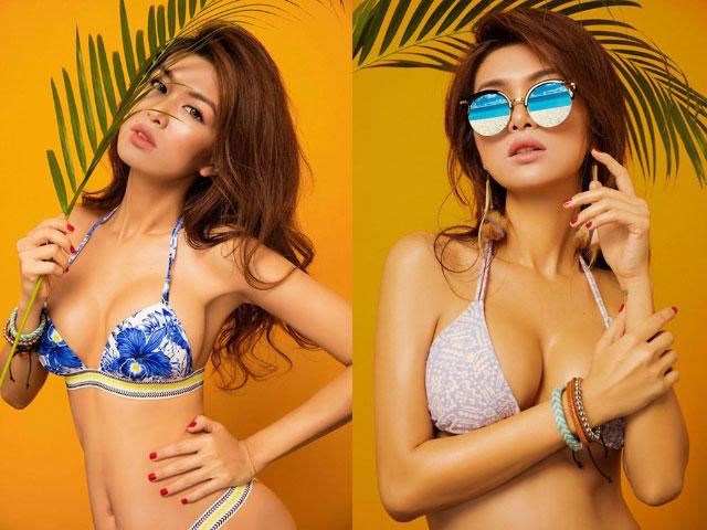 """""""Gái 2 con"""" Oanh Yến khoe dáng nóng bỏng với bikini"""