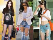 """Thời trang - Sao Việt đọ mốt quần jeans """"mặc như không"""" với sao ngoại"""